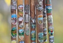 Stokplaatjes - Stocknägel - Hiking medallions / Kleine reis herinneringen! Ik spaar ze al vanaf mijn kinderjaren...