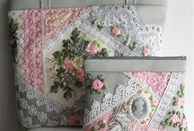 Crazy quilting/ribbon embroidery