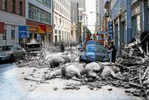 Earthquake Photos Now and Then