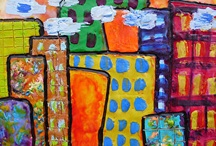 Busy Cities Encaustic