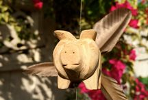 Flying Pig Wood Wind Spinners - When Pigs Fly! / When Pigs Fly!  Flying Pigs Mobile to cheer up any garden patio.