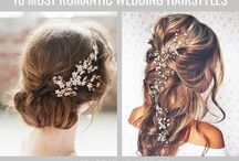 Wedding hair / Loose natural curls / long, half up, half down, swept to the side