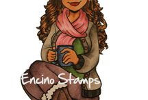 colored digi stamps by Encino Stamps