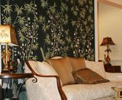 hand painted wallpaper and chinese furniture show room
