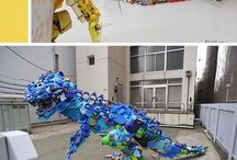 Sculptures made of recycled material