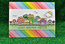 cards lawn fawn: happy village