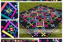 Coperta new indiana / Fondo nero a selle e quadretti multicolor