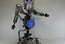 Robot's / Sculpture de robot lumineux et modulable idéal deco bureau salon bar loft style steampunk vintage geek aviation