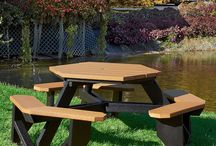 Recycled Plastic Picnic Table / Our heavy duty recycled plastic picnic tables are an eco-friendly option perfect for complimenting any green site. Recycled plastic picnic tables don't need to be stained or maintained like wood, making recycled plastic a more cost-effective and sustainable solution.