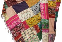 Reversible Kantha Dupattas & Stoles / Recycled Silk Dupattas & Stoles accented with Kantha stitches
