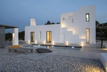 "VACATION HOUSE IN PAROS / GEM Architects designed and constructed this house in the outskirts of Naousa in Paros. The design concept was based on a ""deformed"" cubism incorporated in the vernacular idiom. The house is a theatrical stage where an ascending movement unifies all the terasses!"