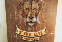 Artworks / Spraypaint on Wood *lion of rub a dub*