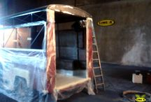 Protección Interior en una Citroën H / Colaboración de LINE X LEVANTE en la restauración de una Citroën H y posterior transformación en una Food Truck.
