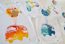 Camisetas y bodies estampados a mano Watermarycolors / Camisetas 100% algodón estampadas a mano.