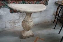 Elegant Outdoor Furniture / Stone, marble, teak, iron and vintage aluminium