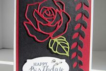 Red and black rose card