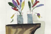 4. 4 FLOWERS by Artists / paintings of flowers-drawings-watercolors etc.