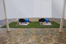"Picnic / Picnic is an installation, which represents two identical copies of a random situation like a Picnic. The installation carries two main codes: of copying and randomness, of industry and individual.  Artisterium 8/2015 ""What's on your mind?""  Credits: Tezi Gabunia, Ivane Ksnelashvili, Davit Tsanava, Nika Maisuradze, Mariam Nadareishvili, Bernhard Sartor, Oto Shengelia."