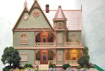 """Quarter Scale Dollhouse Miniature - The Victorian Sage / The Victorian Sage measures 11""""W x 6""""D x 12""""H, and has seven rooms, two hallways, and an attic."""