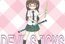 Devilsticking manga / Manga style devilstick playing girls