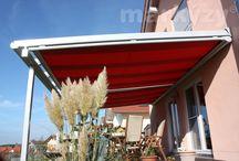 Markýzy na zimní zahrady a pergoly / Venkovní markýzy ve standardním provedení, markýzy pro montáž pod sklo i pro zimní zahrady, pergoly, či přístřešky atypického tvaru.