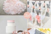 Pink grey wedding
