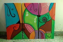 Cuadros / cuadros pintados a mano , con colores, con frases y/o de paisajes