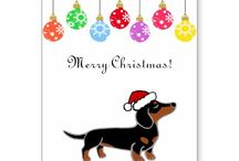 Cute Dachshund Christmas Cards