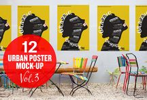 """Urban Poster Mock-up VOL.3 / EACH SMART OBJECT IS EDITABLE WITH ISO """"A"""" PAPER SIZES"""