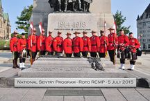 RCMP - Tomb of the Unknown Soldier / July 3, 2015 Ontario, Canada Ottawa – Royal Canadian Mounted Police (RCMP) members dressed in Red Serge are standing sentry at Canada's National War Memorial July 5 to mark the anniversary of the date Sergeant Arthur Richardson, a member of the North-West Mounted Police, earned the Victoria Cross for his bravery during the South African War while serving with Lord Strathcona's Horse (Royal Canadians)