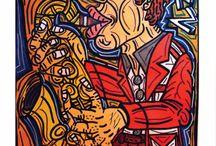 Robert Combas / La figuration libre est un mouvement artistique du début des années 1980, apparu dans un contexte d'art « sérieux », minimaliste et conceptuel