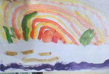 Trabajos de los niños / Fotos de los trabajos de las carpetas de los niños