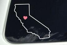 Outline of California / Outline of California - California Outline - Decal - Sticker - Decals - Stickers - Window Decal - Window Sticker - CA - Heart - Star