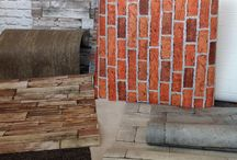 Beach Wood & Stone / This board is all about the illusion, faux textures created by using super detailed wallpaper prints. Here we have sun bleached wood panels, whitewashed bricks and weathered castle stone.