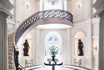 Grand Entrances & Staircases / Fabulous foyers and entrances to create a wow factor worthy of Park Avenue!  Go for #marble and #stone for maximum impact.