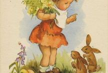 """Cartes/Illustrations vintage Pâques/1er Mai / """"C'était un beau dimanche de Pâques........"""""""