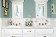 New Farmhouse Bathroom / A mixture of new modern and old country.