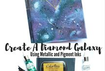Galaxy / Galaxy technique and DIY galaxy projects using ink, paper, and more from Clearsnap. Ideas with ColorBox Ink pads, Izink acrylic pigment ink, and more.