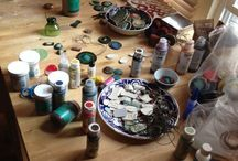 Home Office / What it looks like making corico ceramic jewelry...