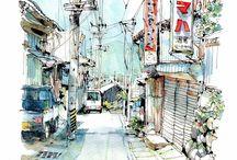 Urban sketch/drawing