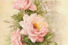 Цветы, птицы (винтаж)