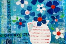 Florals / Mixed media florals by Gill Tomlinson