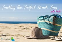 The Perfect Beach Bag / Packing the perfect bag is the first step to making sure your beach experience is fun and relaxing. You'll want to keep your things sand free and organized, and, most importantly, remember to bring the sunscreen!