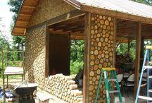 muros de madeiras e pedras