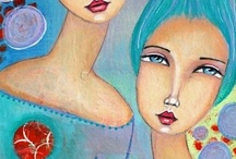 MIXED MEDIA mother and daughter, love