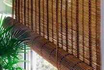 Bamboo curtains for window coverings in interior living room / Bamboo curtains for window coverings in interior living room