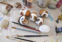 Paint on rock guinea pigs