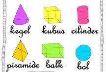 Basisvormen (school) / 3D basisvormen: Kegel, kubus, cilinder, piramide, balk en bol.