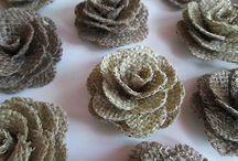 Цветы из мешковины,льна,джинсовые и др.