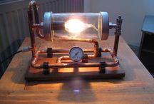 steampunkstyle lamp / zelf gemaakte lamp, simpele onderdelen low cost... steampunk style